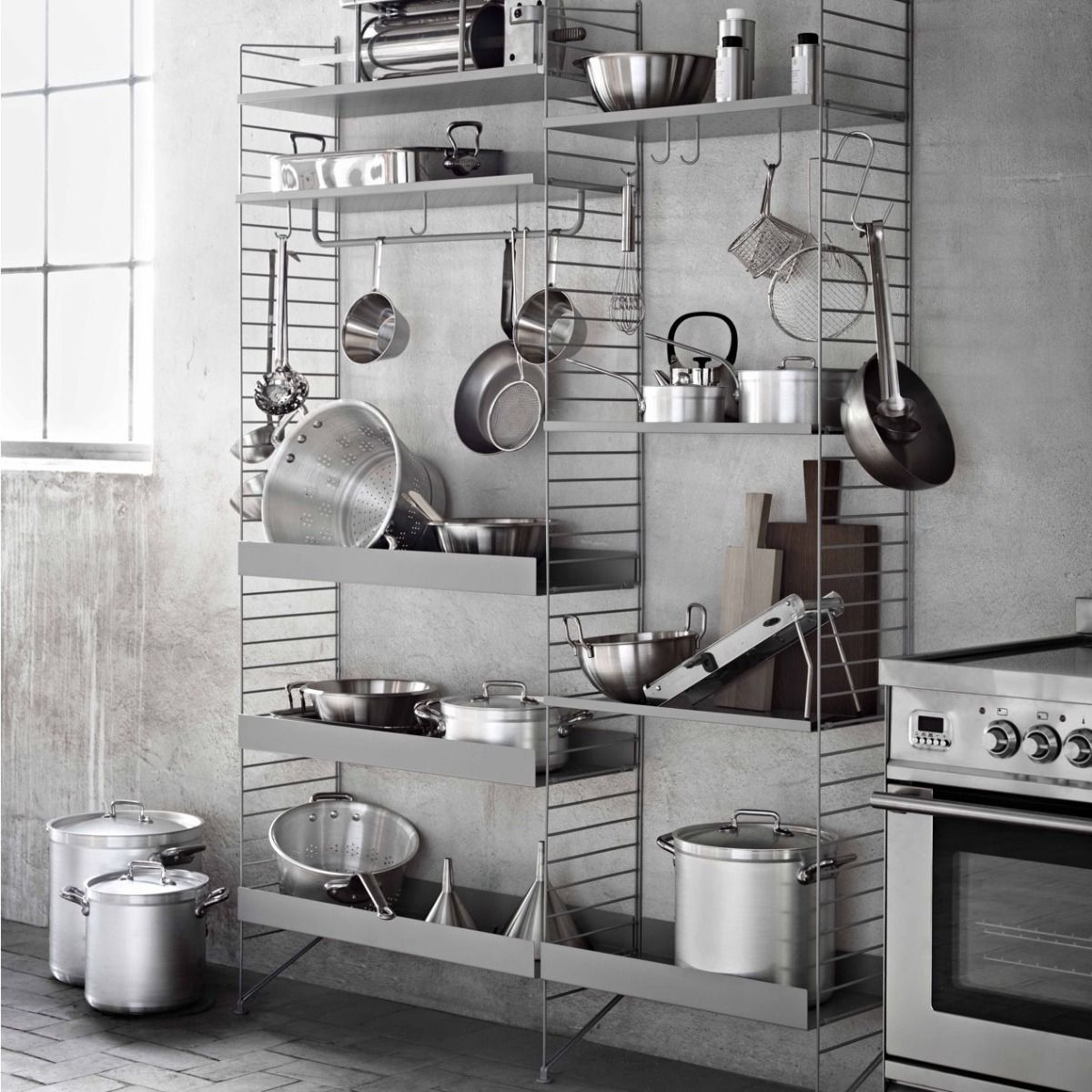 String metal shelves 78 x 30 high and low edge in grey kitchen system