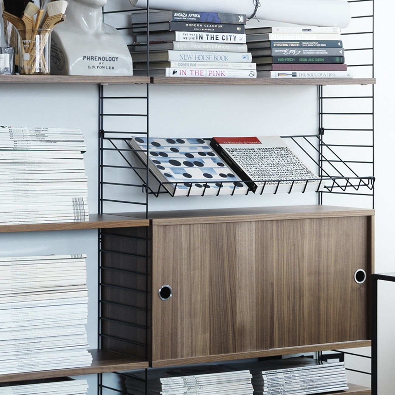 String Shelving System Wire Magazine rack in walnut system