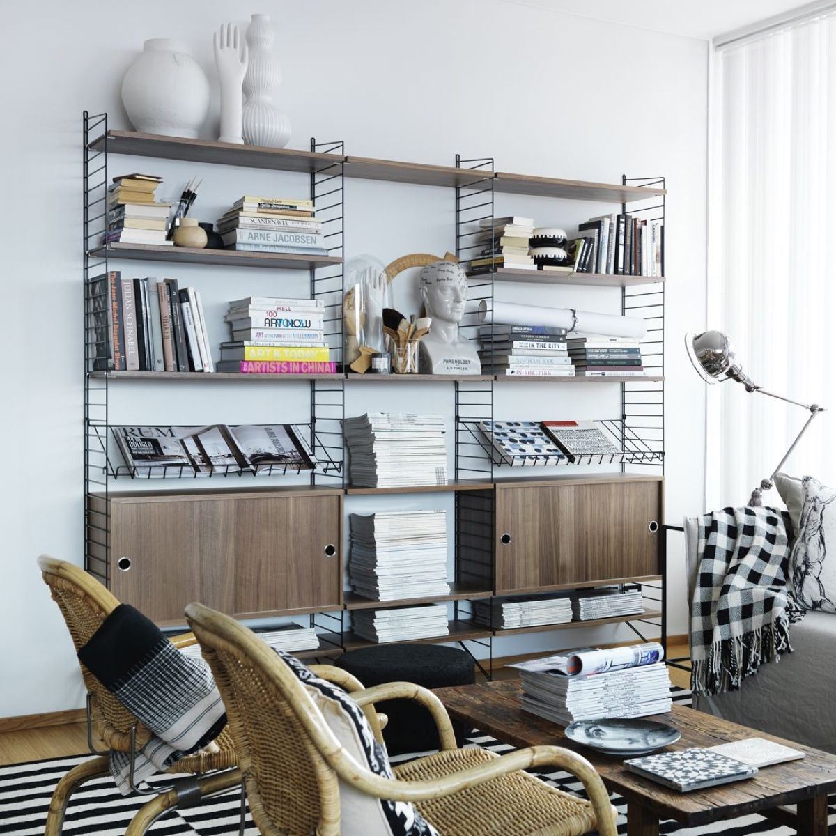 walnut String shelving system including magazine rack