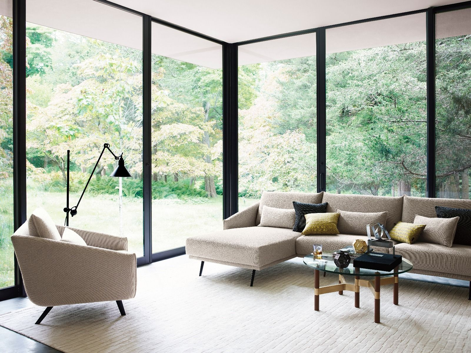 STUA Costura Sofa Chaise Longue in glass fronted house