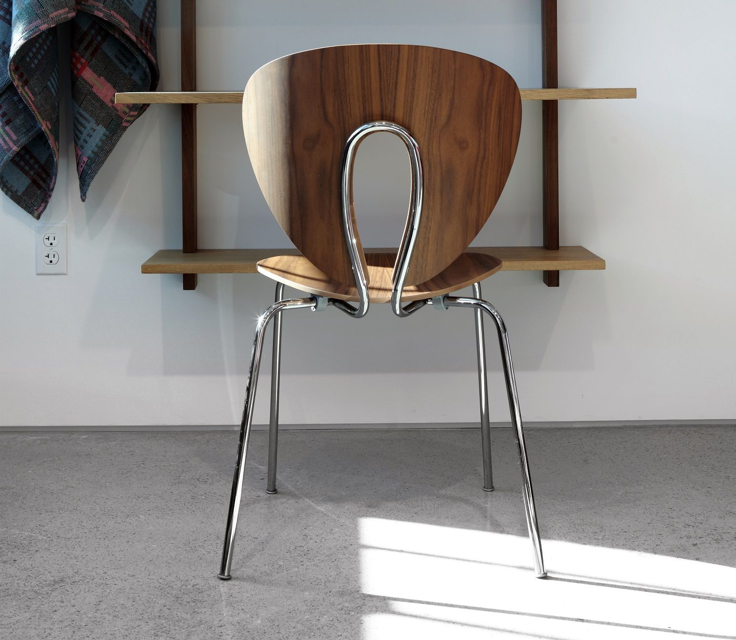 STUA Globus Wood Chair walnut with chrome base