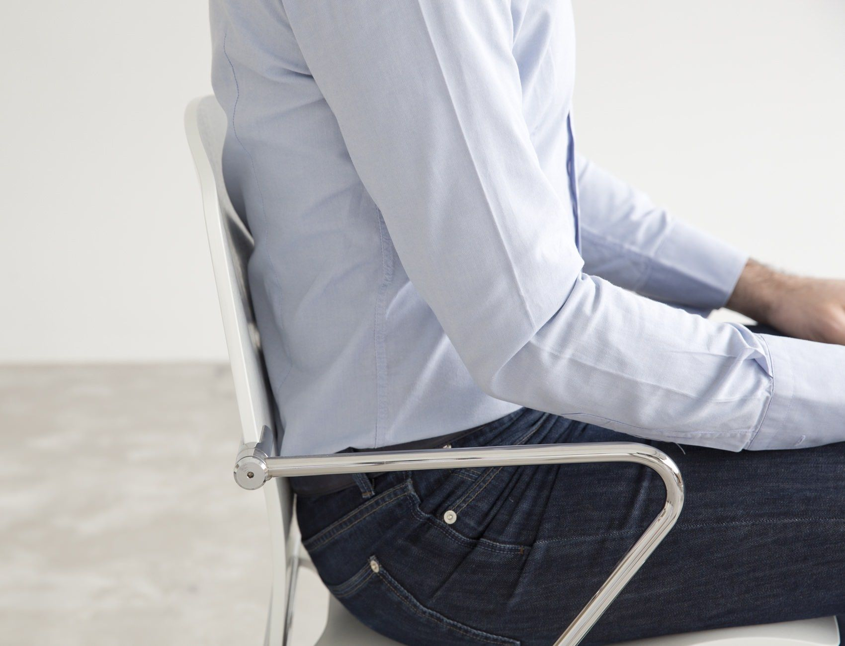 STUA Egoa Chair Showing with flexible chrome frame