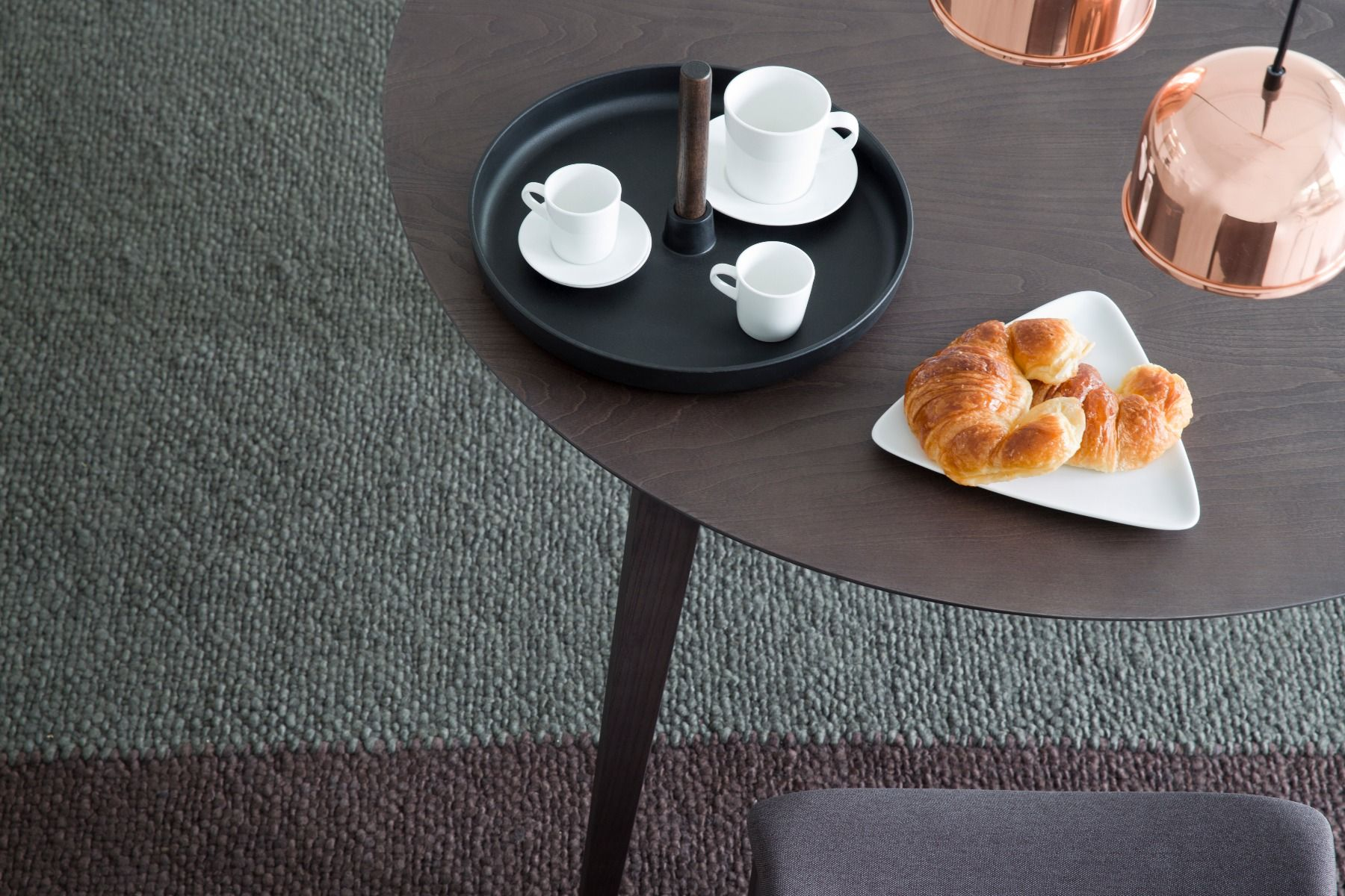 STUA Lau Round Table detail of grey stain top