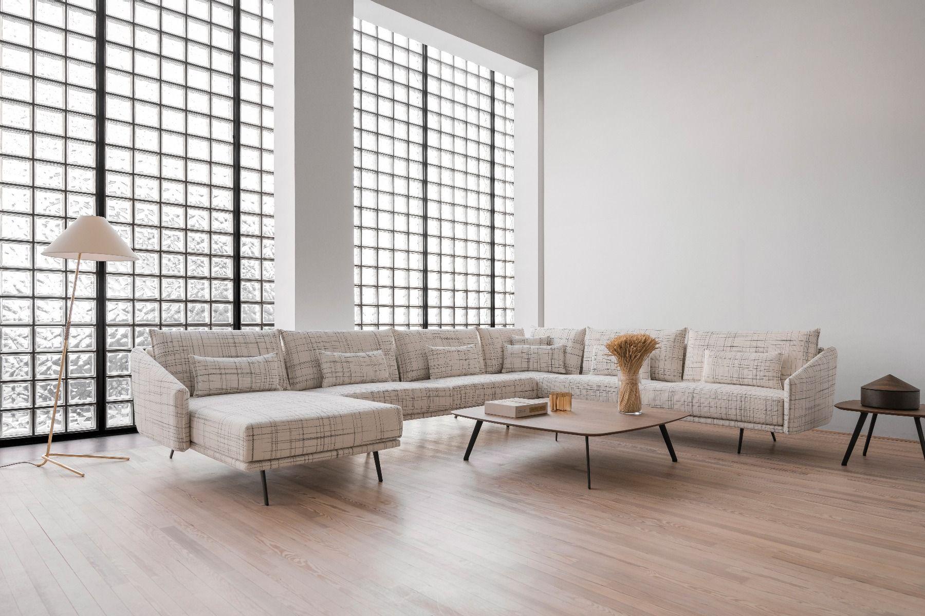 STUA Costura Sofa Chaise Longue corner unit with 120cm coffee tabe