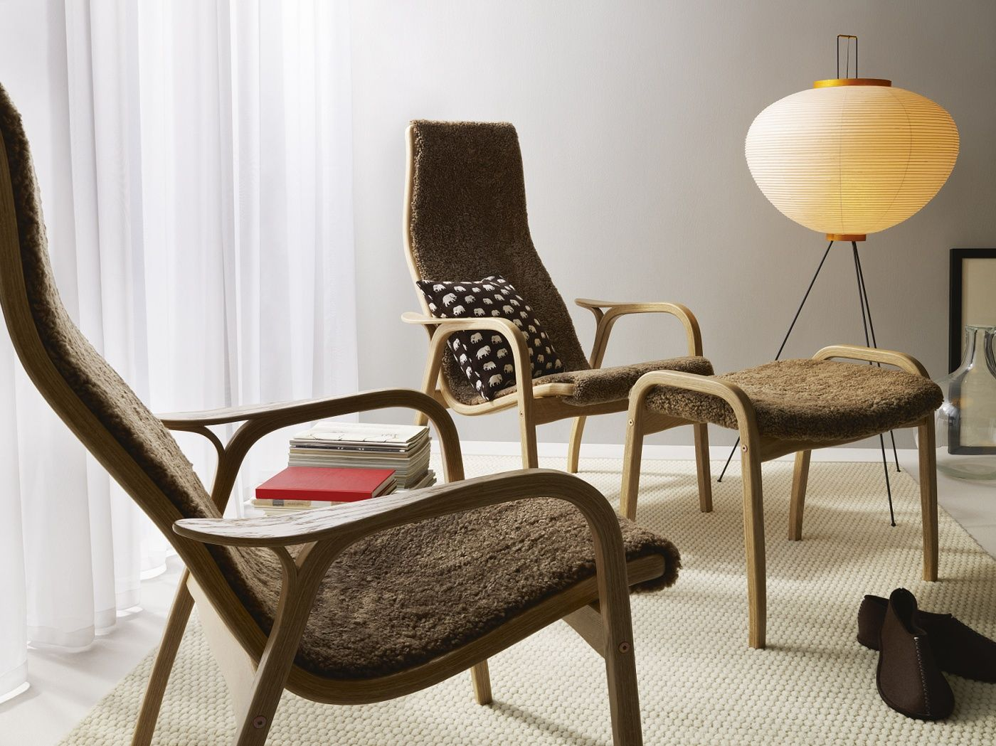 Two Lamino Easy Chairs by window in Saraha and oak