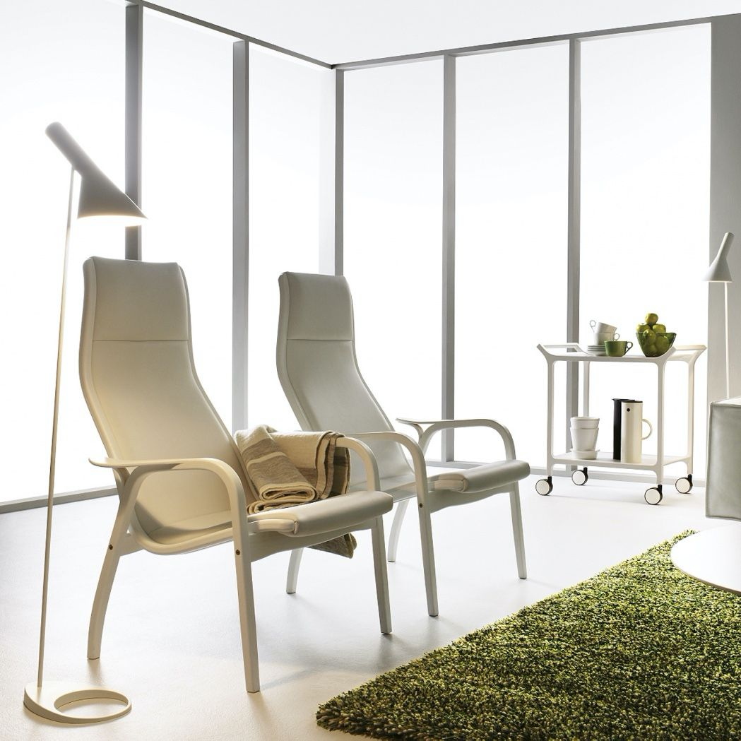 Swedese Lamino chair in white leather chair in a white interior