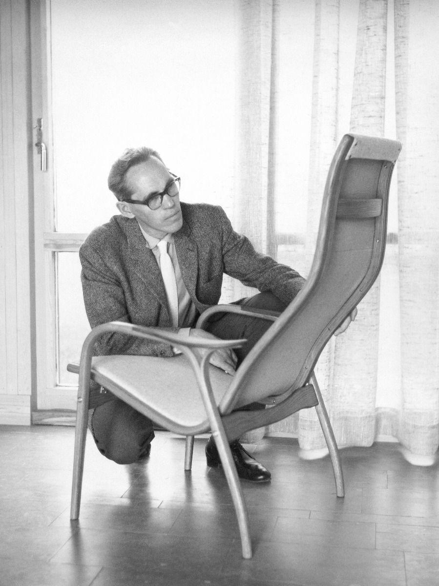 Designer Yngve Ekstrom with the lamino chair
