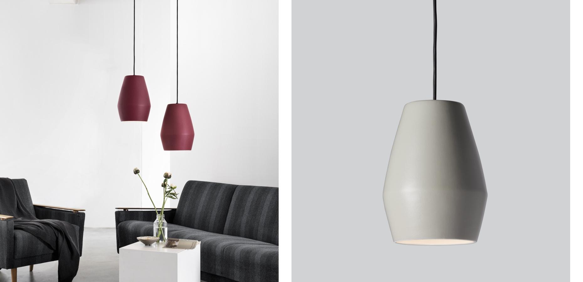 Northern Lighting Bell Pendant Burgundy and Light Grey