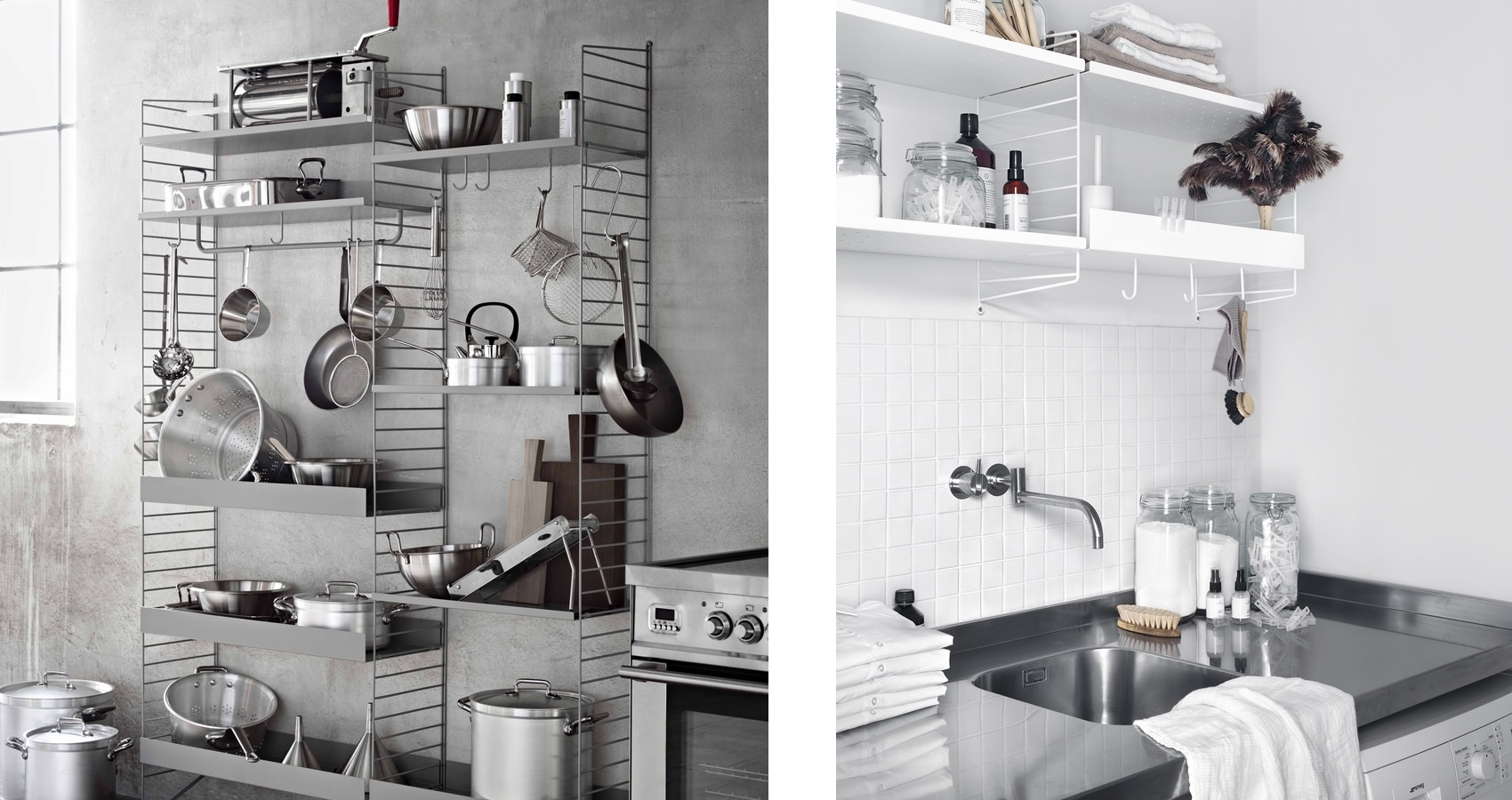 String shelving system Kitchen Metal shelves string plus hooks