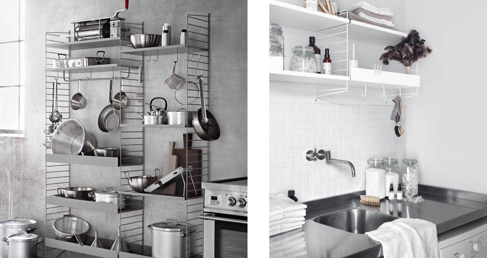 String shelving system Kitchen Metal shelves string plus hooks