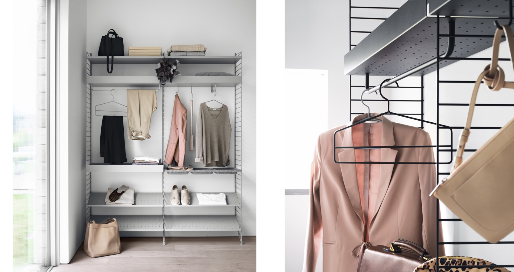 String Shelving closet System shoe shelf metal shelf