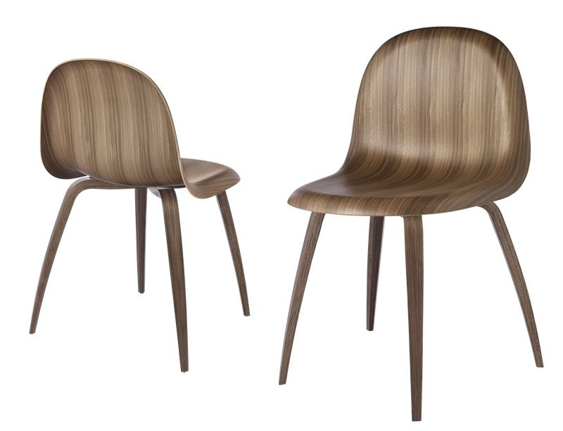 Gubi 3d chairs in walnut, front and back view