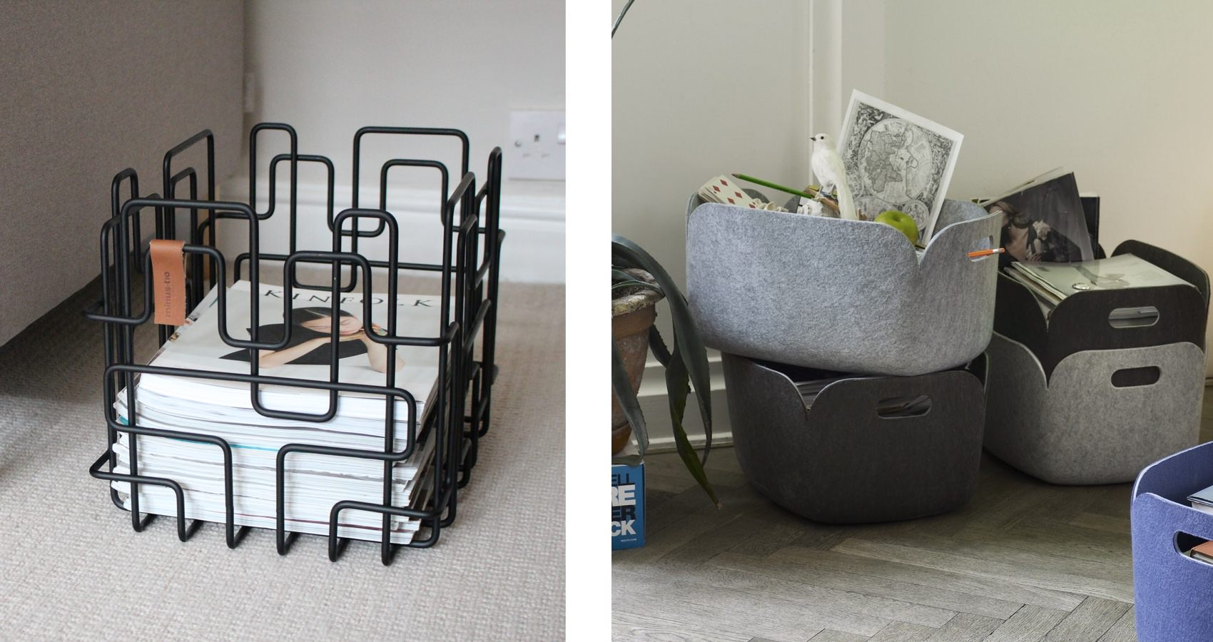 Minus Tio Block Basket and Muuto Restore Basket