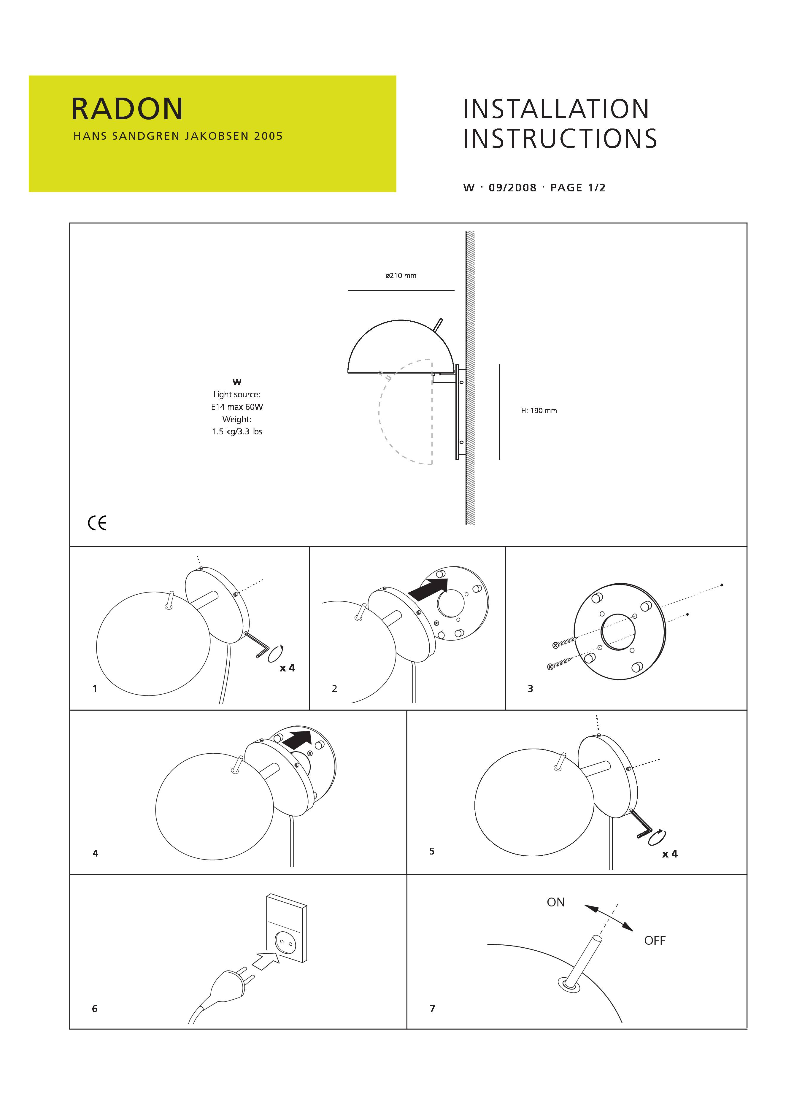 Wall Light Fitting Instructions : Lightyears Radon Wall Light