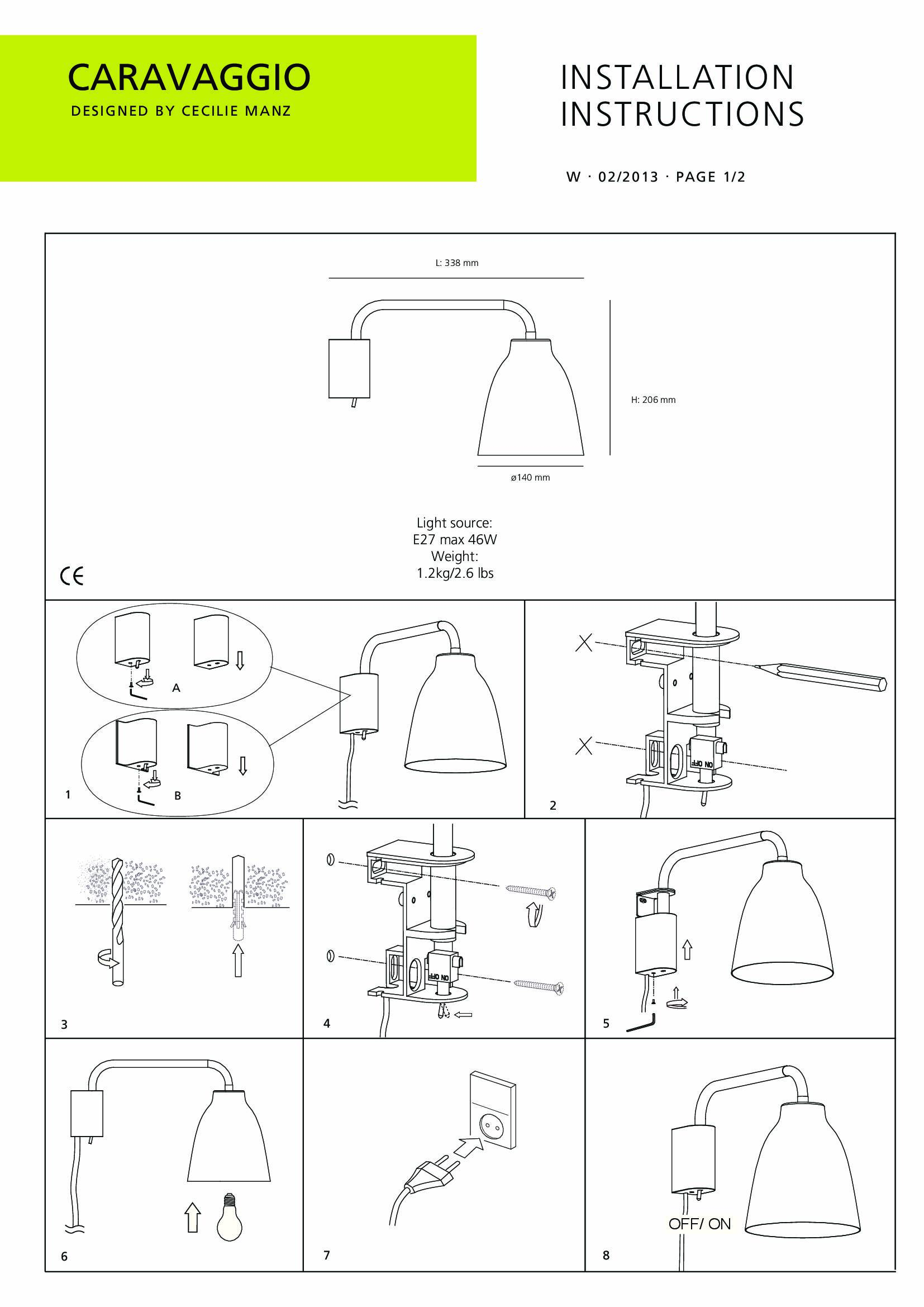 Wall Light Fitting Instructions : Light Years Caravaggio Wall Light